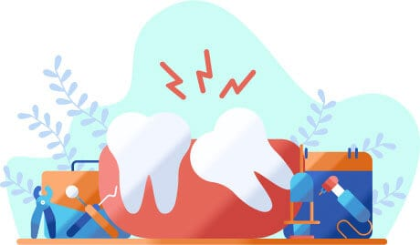 Illustration of a wisdom tooth causing pain and needing extraction